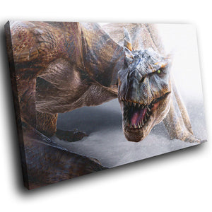A110 Framed Canvas Print Colourful Modern Animal Wall Art - Brown White Winter Dragon-Canvas Print-WhatsOnYourWall