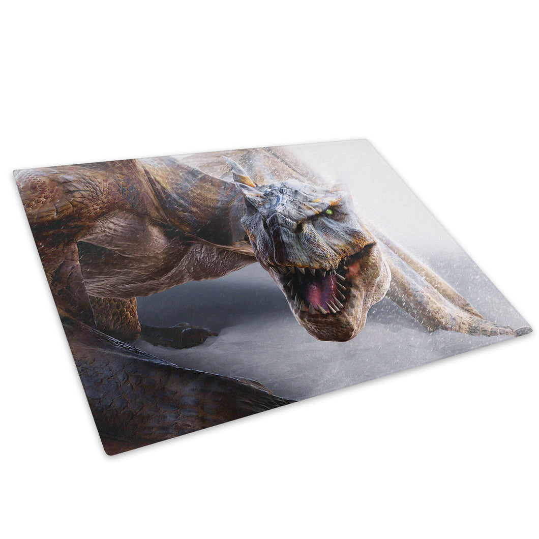 Brown White Winter Dragon Glass Chopping Board Kitchen Worktop Saver Protector - A110-Animal Chopping Board-WhatsOnYourWall
