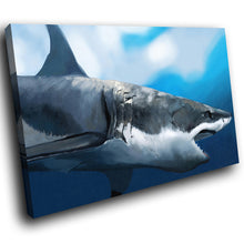 A113 Framed Canvas Print Colourful Modern Animal Wall Art - Blue Fish Shark Underwater-Canvas Print-WhatsOnYourWall