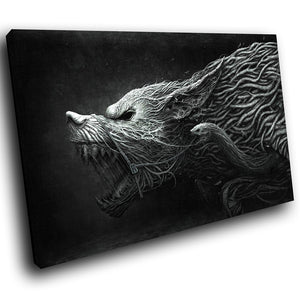 A114 Framed Canvas Print Colourful Modern Animal Wall Art - Black White Grey Demon Wolf-Canvas Print-WhatsOnYourWall