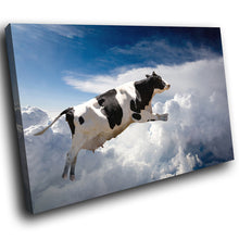 A124 Framed Canvas Print Colourful Modern Animal Wall Art - Black White Flying Cow Blue Sky-Canvas Print-WhatsOnYourWall