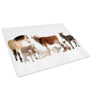 White Farm Animals Collage Glass Chopping Board Kitchen Worktop Saver Protector - A126