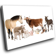 A126 Framed Canvas Print Colourful Modern Animal Wall Art - White Farm Animals Collage-Canvas Print-WhatsOnYourWall