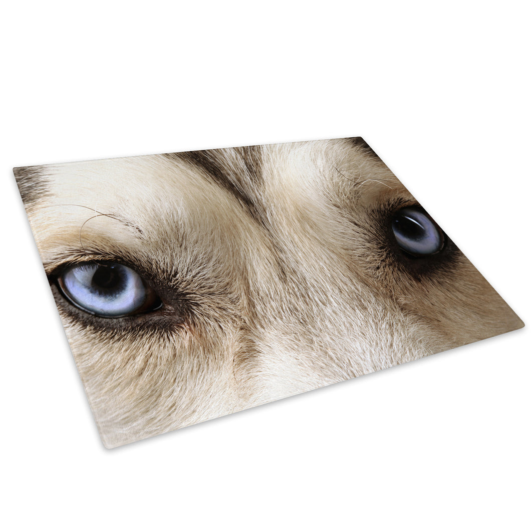 Grey White Wolf Blue Eyes Glass Chopping Board Kitchen Worktop Saver Protector - A131-Animal Chopping Board-WhatsOnYourWall