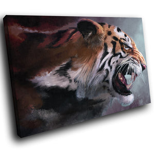 A153 Framed Canvas Print Colourful Modern Animal Wall Art - Animal Tiger Profile Roar-Canvas Print-WhatsOnYourWall