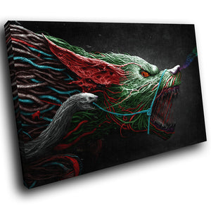 A154 Framed Canvas Print Colourful Modern Animal Wall Art - Green Red Demon Dog Fantasy-Canvas Print-WhatsOnYourWall