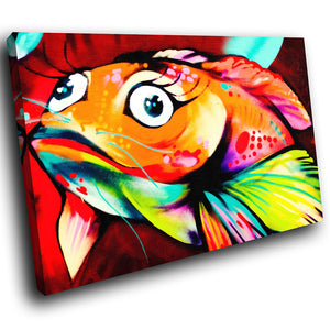 A155 Framed Canvas Print Colourful Modern Animal Wall Art - Orange Red Popart Koi Fish-Canvas Print-WhatsOnYourWall