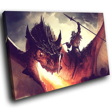 A156 Framed Canvas Print Colourful Modern Animal Wall Art - Red Dragon Knight Fantasy-Canvas Print-WhatsOnYourWall