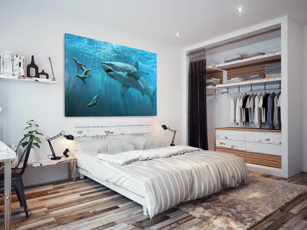 A158 Framed Canvas Print Colourful Modern Animal Wall Art - Underwater Shark Seal-Canvas Print-WhatsOnYourWall
