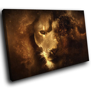 A160 Framed Canvas Print Colourful Modern Animal Wall Art - Animal Lion Paint Effect Dark-Canvas Print-WhatsOnYourWall