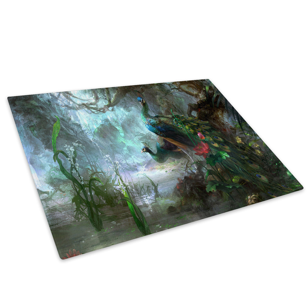 Blue Forest Peacock Red Glass Chopping Board Kitchen Worktop Saver Protector - A161-Animal Chopping Board-WhatsOnYourWall