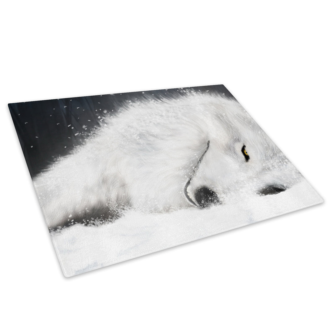 White Winter Wolf Snow Glass Chopping Board Kitchen Worktop Saver Protector - A163-Animal Chopping Board-WhatsOnYourWall