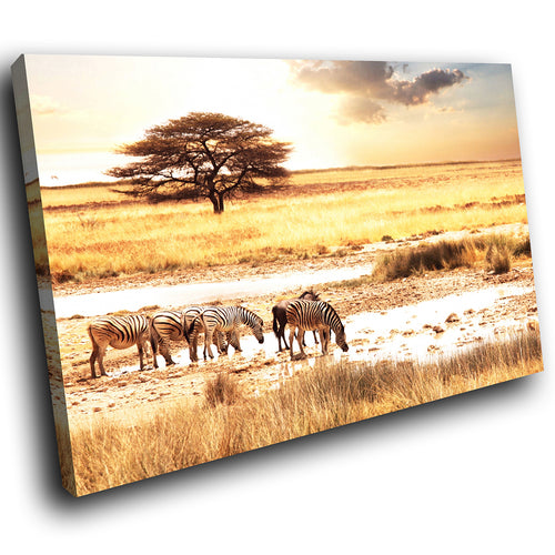 A164 Framed Canvas Print Colourful Modern Animal Wall Art - Yellow African Plains Zebra-Canvas Print-WhatsOnYourWall