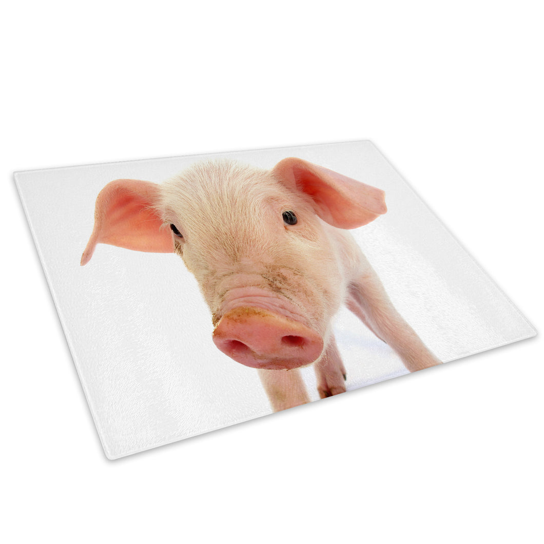 Pink White Baby Pig Cool Glass Chopping Board Kitchen Worktop Saver Protector - A167