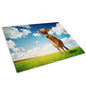 Blue Sky Brown Cow Green Glass Chopping Board Kitchen Worktop Saver Protector - A169-Animal Chopping Board-WhatsOnYourWall
