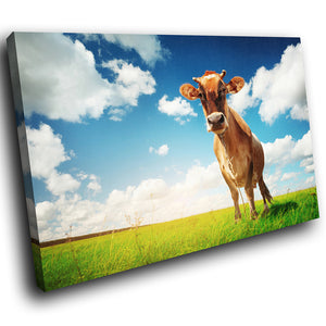 A169 Framed Canvas Print Colourful Modern Animal Wall Art -  Blue Sky Brown Cow Green Grass - WhatsOnYourWall