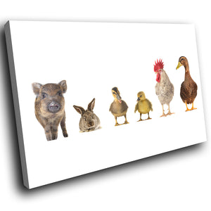 A171 Framed Canvas Print Colourful Modern Animal Wall Art - White Cute Farm Animals Collage-Canvas Print-WhatsOnYourWall