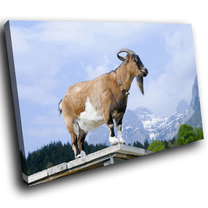 A173 Framed Canvas Print Colourful Modern Animal Wall Art - Brown Mountain Goat Landscape-Canvas Print-WhatsOnYourWall