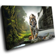 A176 Framed Canvas Print Colourful Modern Animal Wall Art - Robot Tiger Urban Jungle-Canvas Print-WhatsOnYourWall