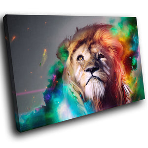 A177 Framed Canvas Print Colourful Modern Animal Wall Art - Multicolor Trippy Lion Animal-Canvas Print-WhatsOnYourWall