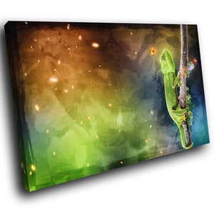 A178 Framed Canvas Print Colourful Modern Animal Wall Art - Chameleon Frog Trippy Space-Canvas Print-WhatsOnYourWall