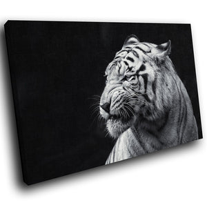 A179 Framed Canvas Print Colourful Modern Animal Wall Art -  Black Tiger Bengal Profile - WhatsOnYourWall