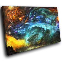 A180 Framed Canvas Print Colourful Modern Animal Wall Art - Orange Blue Fantasy Landscape-Canvas Print-WhatsOnYourWall