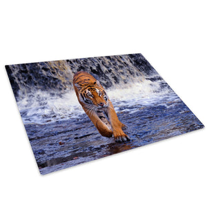 Blue Water Tiger Prowl Glass Chopping Board Kitchen Worktop Saver Protector - A182-Animal Chopping Board-WhatsOnYourWall