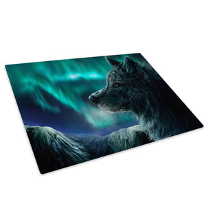 Northern Light Winter Wolf Glass Chopping Board Kitchen Worktop Saver Protector - A184-Animal Chopping Board-WhatsOnYourWall