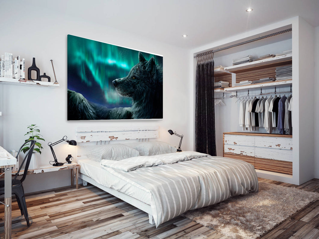 A184 Framed Canvas Print Colourful Modern Animal Wall Art - Northern Lights Winter Wolf-Canvas Print-WhatsOnYourWall