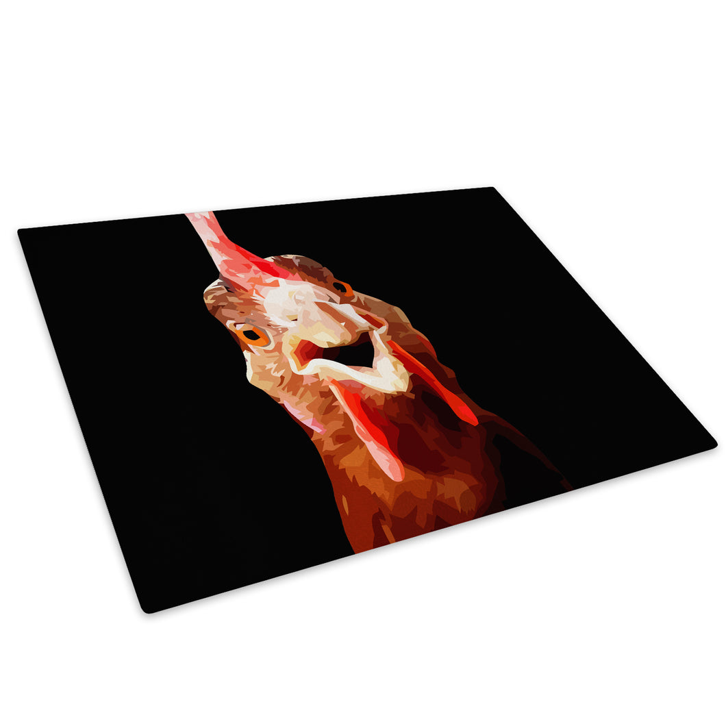 Black Rooster Abstract Red Glass Chopping Board Kitchen Worktop Saver Protector - A195-Animal Chopping Board-WhatsOnYourWall