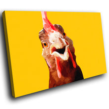 A196 Framed Canvas Print Colourful Modern Animal Wall Art - Yellow Rooster Popart Red-Canvas Print-WhatsOnYourWall