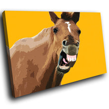 A197 Framed Canvas Print Colourful Modern Animal Wall Art - Yellow Horse Popart Brown-Canvas Print-WhatsOnYourWall