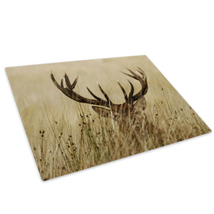 Brown Stag Grass Yellow Glass Chopping Board Kitchen Worktop Saver Protector - A198-Animal Chopping Board-WhatsOnYourWall