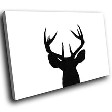 A200 Framed Canvas Print Colourful Modern Animal Wall Art - Black White Stag Silhouette-Canvas Print-WhatsOnYourWall
