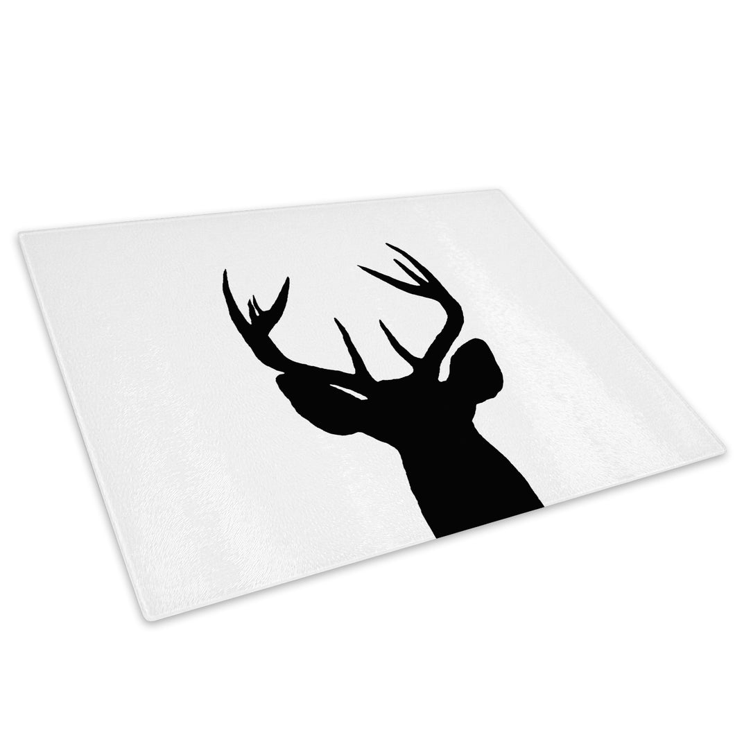Black White Stag Abstract Glass Chopping Board Kitchen Worktop Saver Protector - A200-Animal Chopping Board-WhatsOnYourWall