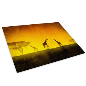 Africa Giraffe Sunset Red Glass Chopping Board Kitchen Worktop Saver Protector - A201-Animal Chopping Board-WhatsOnYourWall