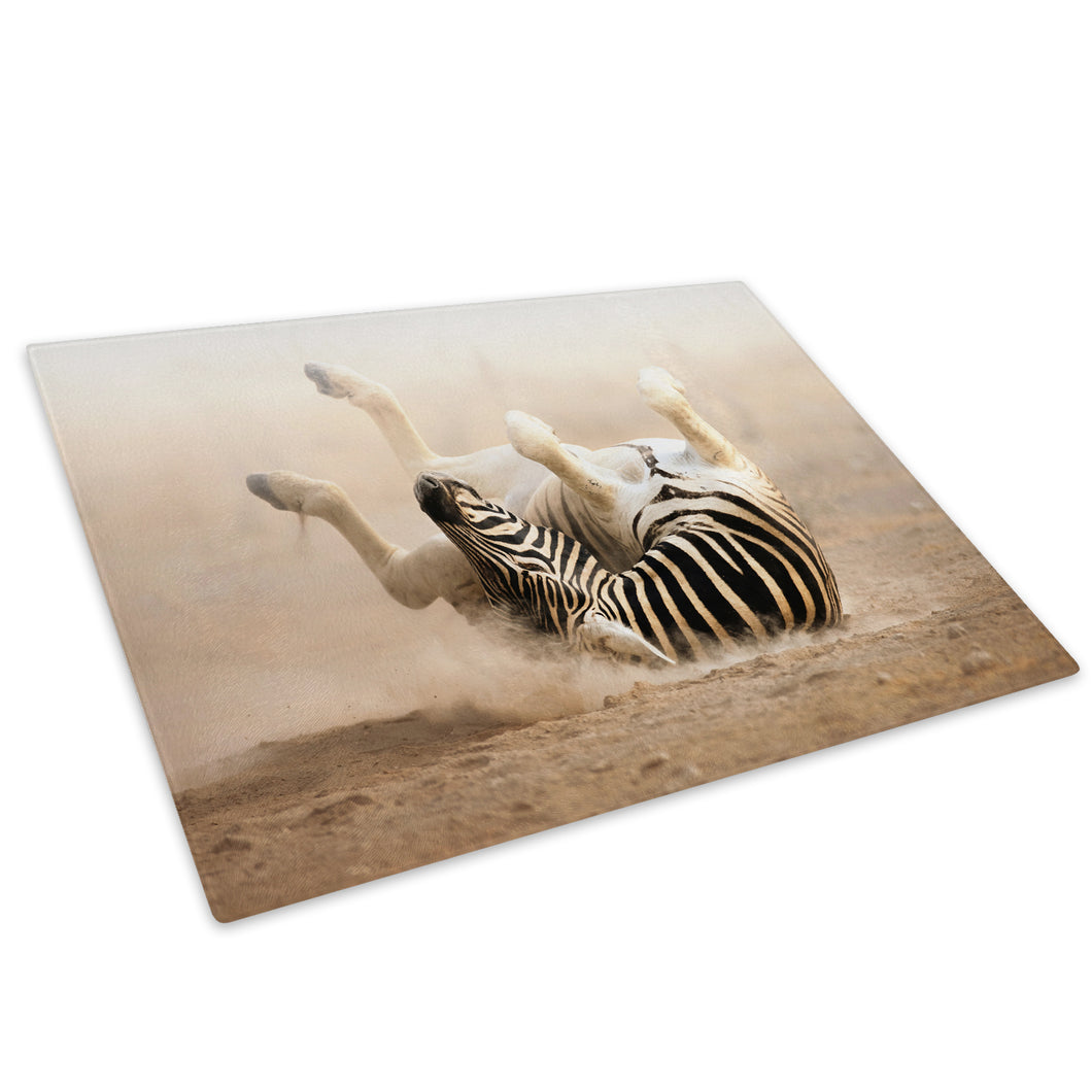 Brown Black White Zebra Glass Chopping Board Kitchen Worktop Saver Protector - A202-Animal Chopping Board-WhatsOnYourWall