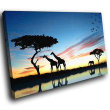 A204 Framed Canvas Print Colourful Modern Animal Wall Art - Blue Black Africa Giraffe-Canvas Print-WhatsOnYourWall