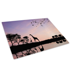 Purple Africa Silhouette Glass Chopping Board Kitchen Worktop Saver Protector - A207