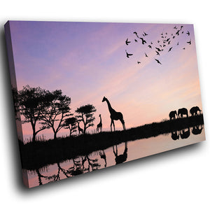 A207 Framed Canvas Print Colourful Modern Animal Wall Art - Purple Africa Plains Silhouette-Canvas Print-WhatsOnYourWall