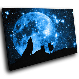 A209 Framed Canvas Print Colourful Modern Animal Wall Art - Blue Silhouette Wolves Howling-Canvas Print-WhatsOnYourWall