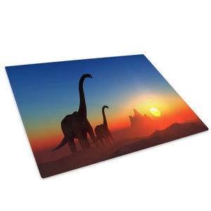 Orange Blue Dinosaur Red Glass Chopping Board Kitchen Worktop Saver Protector - A210-Animal Chopping Board-WhatsOnYourWall