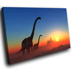 A210 Framed Canvas Print Colourful Modern Animal Wall Art - Orange Blue Dinosaur Sunset-Canvas Print-WhatsOnYourWall
