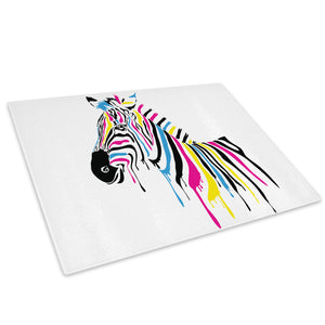 Multicolour Abstract Zebra Glass Chopping Board Kitchen Worktop Saver Protector - A211-Animal Chopping Board-WhatsOnYourWall