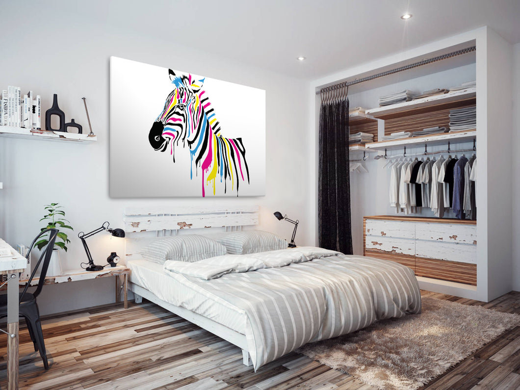 A211 Framed Canvas Print Colourful Modern Animal Wall Art - Multicolour Animal Zebra-Canvas Print-WhatsOnYourWall