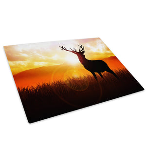 Orange Sunset Red Black Glass Chopping Board Kitchen Worktop Saver Protector - A215-Animal Chopping Board-WhatsOnYourWall