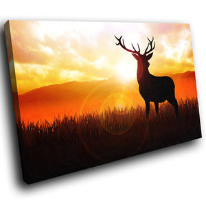 A215 Framed Canvas Print Colourful Modern Animal Wall Art - Orange Sunset Stag Red Black-Canvas Print-WhatsOnYourWall