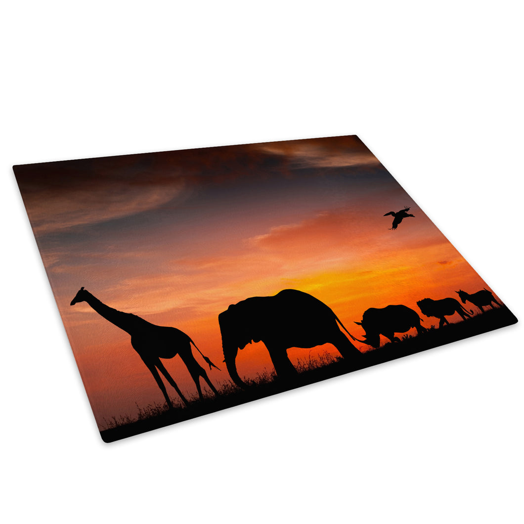 Africa Silhouette Elephant Glass Chopping Board Kitchen Worktop Saver Protector - A216-Animal Chopping Board-WhatsOnYourWall