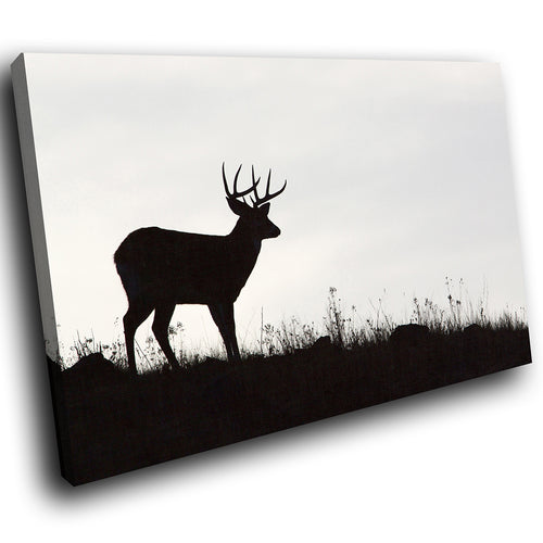 A218 Framed Canvas Print Colourful Modern Animal Wall Art - Black Deer Stag Silhouette-Canvas Print-WhatsOnYourWall